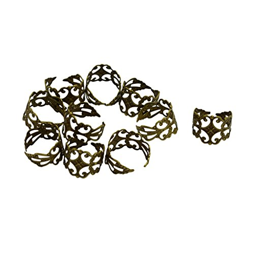 Dovewill 10 Pieces Brass Adjustable Vintage Filigree Ring Blanks Ring Bases Flat Pad Jewelry Findings DIY Craft - Vintage Bronze