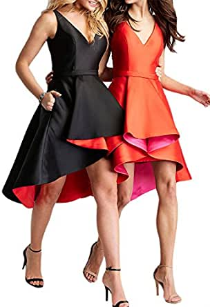 High Low V Neck Cocktail Dresses Knee Length Asymmetrical Satin Prom Party Gown Orange Customize