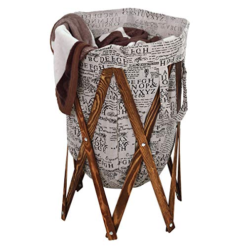 AZDENT Vintage Laundry Hamper Wood Frames Collapsible Laundry Basket Storage Bags Removable Laundry Bag