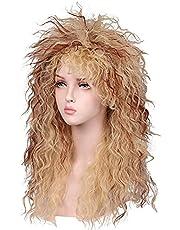 MEIRIYFA Mens 80s Wig Long Curly Wig Black Rocker Punk Wig Mullet Wigs for Costume Cosplay Party Halloween