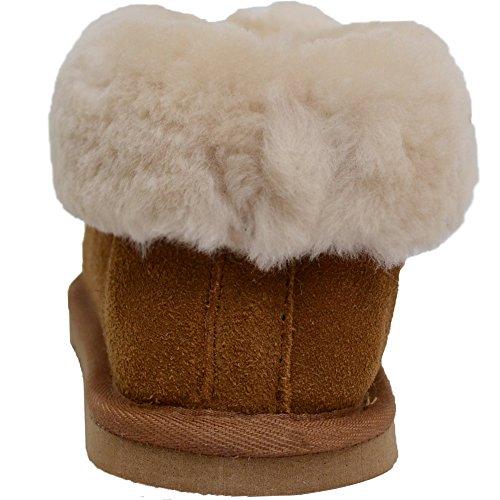 Damenschuhe/Slipper aus Schafleder mit Umschlag Hellbraun
