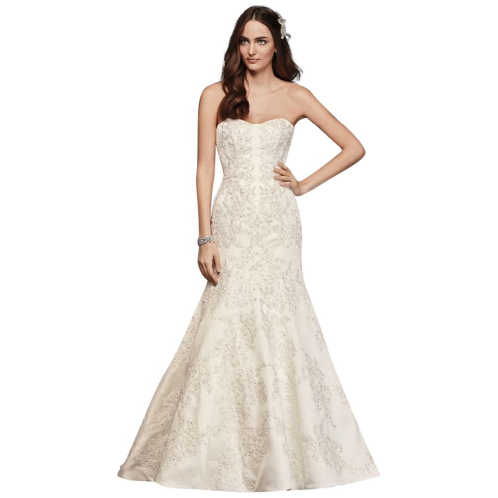 Petite Satin Trumpet Wedding Dress With Lace Style 7cwg594 At Amazon