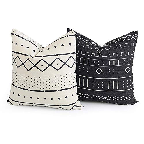Acelive 16 x 16 Inches Cotton Linen Decorative Throw Pillow Cover African Mud Cloth Inspired Print Ethnic Natural Dots and Line Pillowcase Cushion Cover for Sofa Bedroom Car (2PCS)