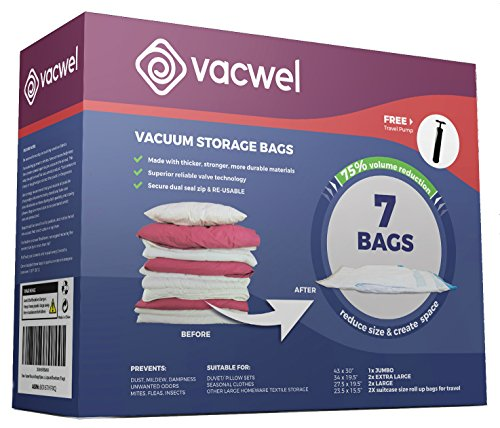 Vacwel Ziplock Storage Space Saver Vacuum Bags. Jumbo, Large, Medium sizes and 2 No-Vacuum Compression Bags for Travel Suitcases (7 Storage Bags, 1 Pump) (Ziplock Spacesaver)