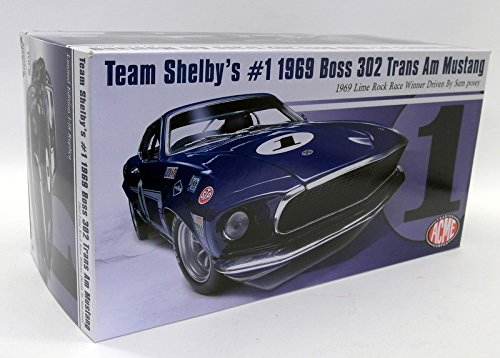 (Team Shelby's #1 1969 Boss 302 Trans Am Mustang 1969 Lime Rock Race Winner Driven by Sam Posey Limited Edition to 708 pieces Worldwide 1/18 Diecast Model Car by Acme A1801819)