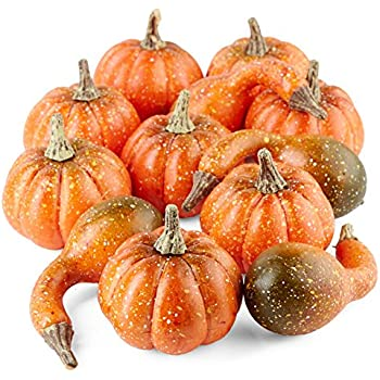 Factory Direct Craft Package of Mixed Artificial Pumpkins and Gourds for Fall Decorating - 12 Pieces
