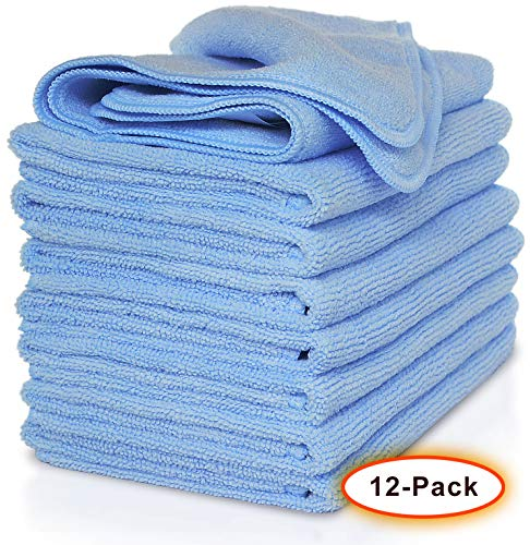VibraWipe Microfiber Cloth – Pack of 12 Pieces (All-Blue) Microfiber Cleaning Cloths, Highly Absorbent, Lint-Free, Streak-Free, for Kitchen, Car, Window