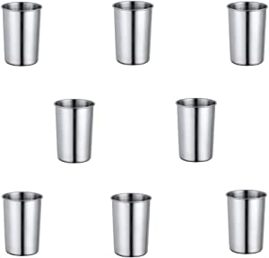 10 Oz Stainless Steel Cups Color Me 8-Piece Stainless Steel Pint Cups for In-Home and Outdoor Eco Friendly Metal Drinking Cups Shatterproof Tumblers Glasses for Kids or Adults, Dishwasher Safe(Silver)