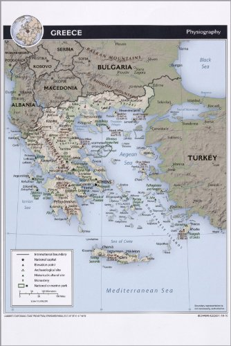 Poster Cia Map Of Greece, Physiography 2010 Antique Reprint