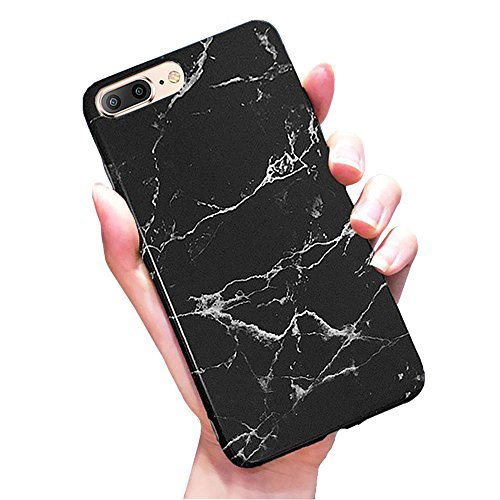 J.west iPhone 8 Plus Case, iPhone 7 Plus Case, Pattern Printed Bumper Slim TPU Soft Rubber Silicone Cover Anti-Scratch Thin Back Protective Phone Case Cover for iPhone 7 Plus/8 Plus (Black Marble)