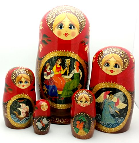 Tsar Saltan fairy tale by Pushkin Russian Nesting doll Hand Carved Hand Painted 5 piece Set 7