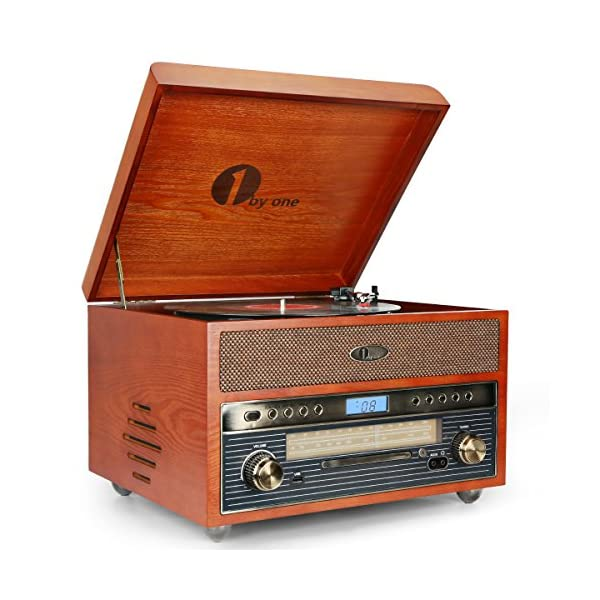 1byone Nostalgic Wooden Turntable Wireless Vinyl Record Player with AM, FM, CD, MP3 Recording to USB, AUX Input for… 3