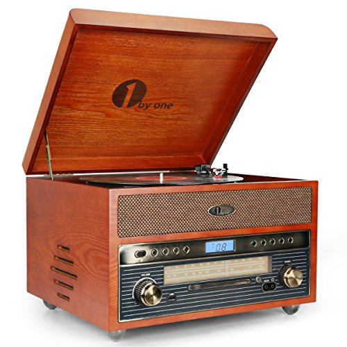 (1byone Nostalgic Wooden Turntable Bluetooth Vinyl Record Player with AM/FM, CD, MP3 Recording to USB, AUX Input for Smartphones & Tablets and RCA Output)
