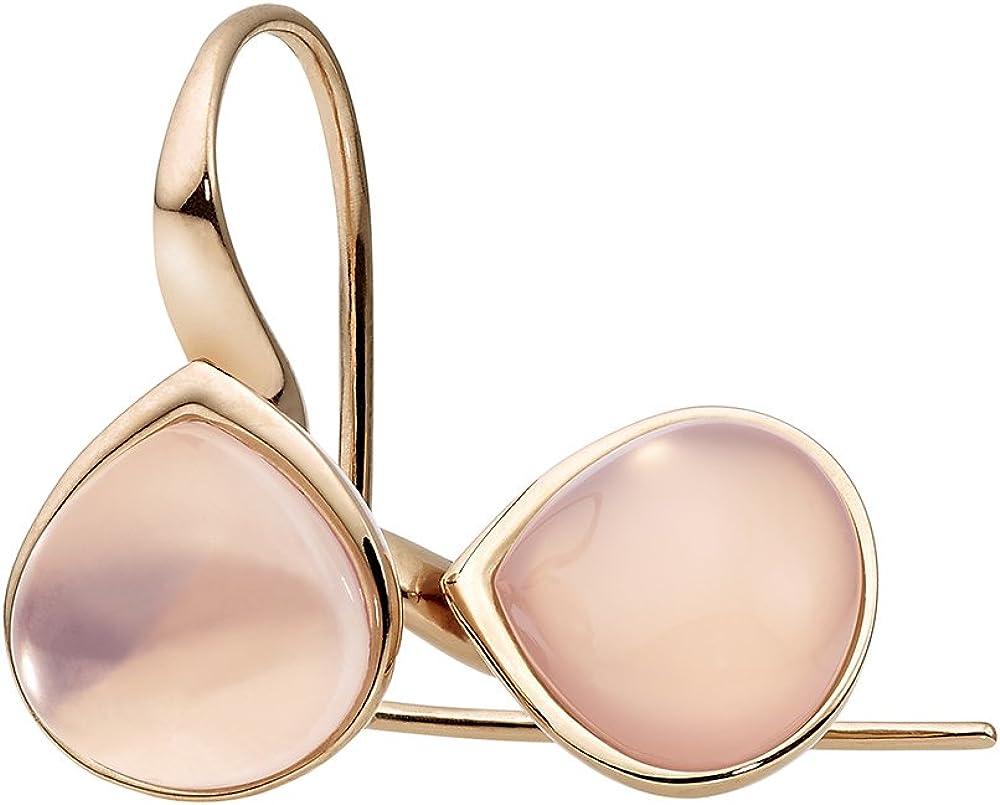 Pendientes acero y cuarzo rosa Drop Xen 411008G0