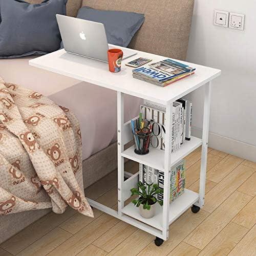 ONEWDJ、折りたたみ式ラップトップデスク、ベッドサイドテーブルトレイ、2層式収納、移動が簡単、家庭学習や食事の読書に使用、金庫,白