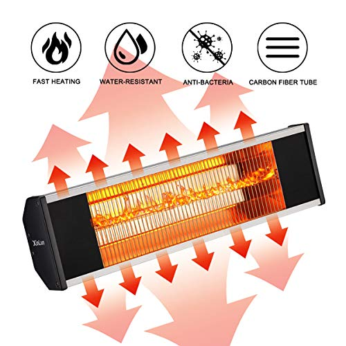 Infrared Heaters Patio (SURJUNY Electric Infrared Heater, Wall-Mounted Patio Heater with Remote Control, Indoor/Outdoor Infrared Heater, Waterproof IP65 Rated, P01)