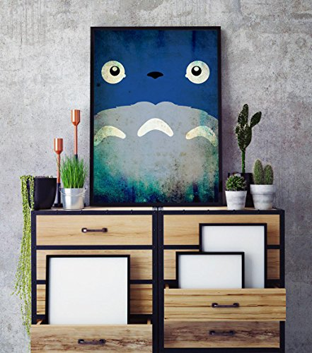 Anime Vintage minimalist Poster, My Neighbor Totoro minimalist prints, studio ghibli kids room decor, My Neighbor Totoro poster, All Prints avialable in 9 SIZES and 3 type of MATERIALS
