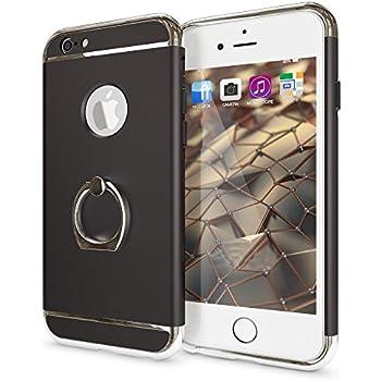 c97a25614a5 Sonolife - Funda Compatible con iPhone 6 y 6s con Soporte de Anillo y  Acentos Brillantes (Negro/Dorado)