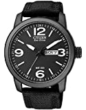 Citizen Mens Eco-Drive Black Stainless Steel/ Nylon Strap Watch BM8475-34E