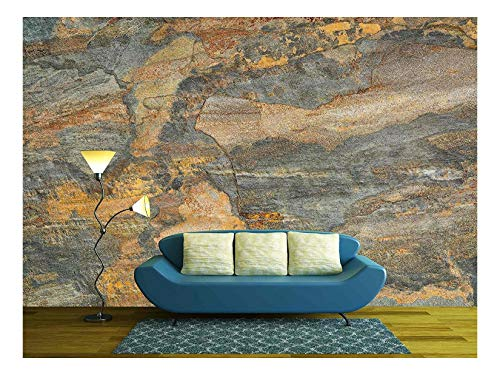 (wall26 - Flat, Multi Color Foliated Slate Rock with Abstract Like Landscape Pattern - Removable Wall Mural | Self-adhesive Large Wallpaper - 100x144 inches)