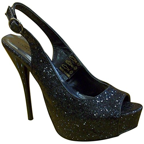 Lady Godiva Womens 1801 Scarpe Open Toe Nere