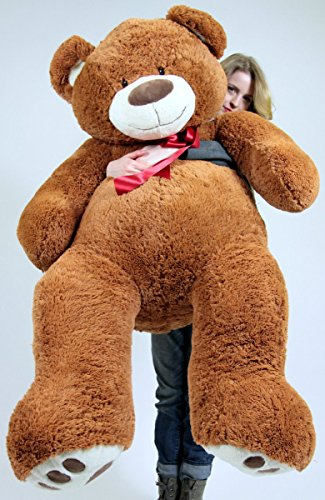 51X3lIpV4ZL - 5 Foot Very Big Smiling Teddy Bear Five Feet Tall Cookie Dough Brown Color with Bigfoot Paws Giant Stuffed Animal Bear
