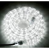 "24ft Daylight White LED Flexible Rope Light Kit for Indoor/Outdoor Use, 1/2"" diameter, 120V, UL Listed, Home, Garden, Patio, Shop Windows, Party, Event, Christmas"