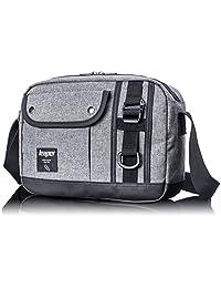 Leaper Men Retro Shoulder Bag Cross-Body Messenger Daypack Sling Outdoor Bag for Women Gray