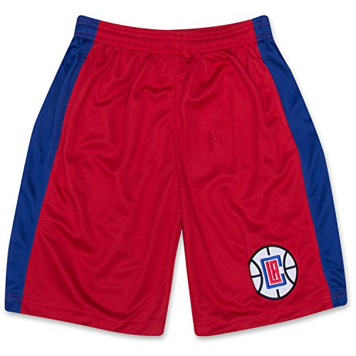 fan products of NBA Boys Athletic Sports Basketball Shorts With Elastic Waistband Los Angeles Clippers Red Royal Large