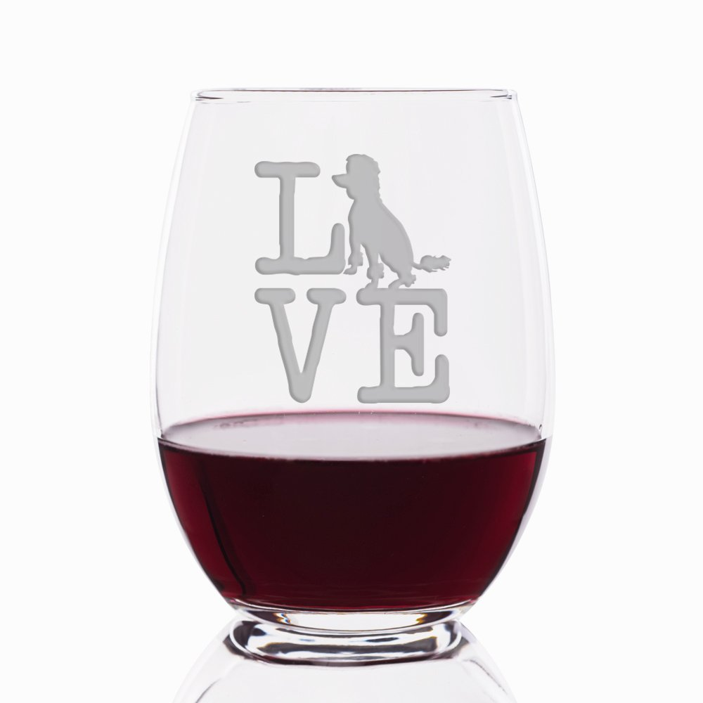 Love Poodle Engraved Stemless 21 oz Wine Glass - 4pcs by Mic & Co