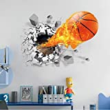 Wall Stickers - 3d Lifelike Broken Wall Basketball Stickers Nba Decoration Diy Cartoon Kids Room Mural Art Boys - Joker Islamic Dollars Tower Airplanes Coffee Childrens Horse Jordan Hummingbirds