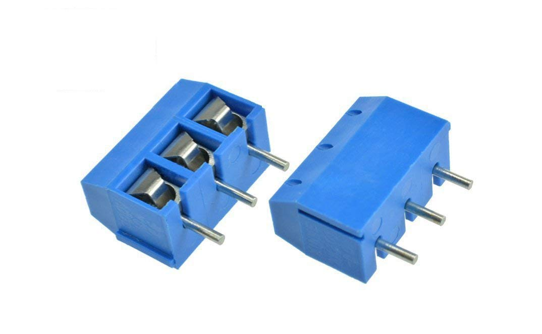 YXQ 5mm Pitch 3 Pole PCB Mount Screw Terminal Block Connector 300V 15A Blue AWG14-22,30Piece