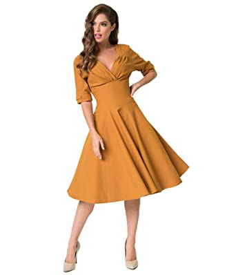 cbc341e062c18d Unique Vintage 1950s Mustard Yellow Delores Swing Dress with Sleeves ...