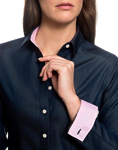 Corte Manga 100 Más modern Colores Algodón Kent Embraer Elegante fit Puños oscuro Mujer Azul De El Cuello Ligeramente En Estampada Interior Camisa larga Angosto Con Contrastantes qxA7I