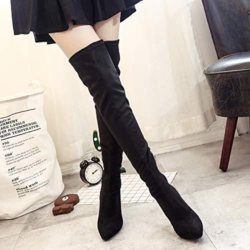 KPHY Damenschuhe Über Das Knie Stiefel Schwarze Stiefel High Heels Heels Heels Und Dünnen Absätzen Mit Hohen 9Cm Wies Hohe Röhre Elastischen Stiefel Dünnen Bein Stiefel. a9b49a