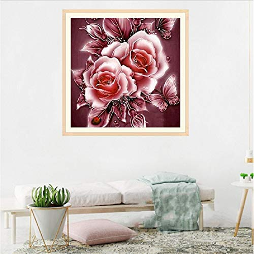(NXKang 5D DIY Nature Diamond Painting Peony Flower Cross Stitch Kits Crystal Rhinestone Embroidery)