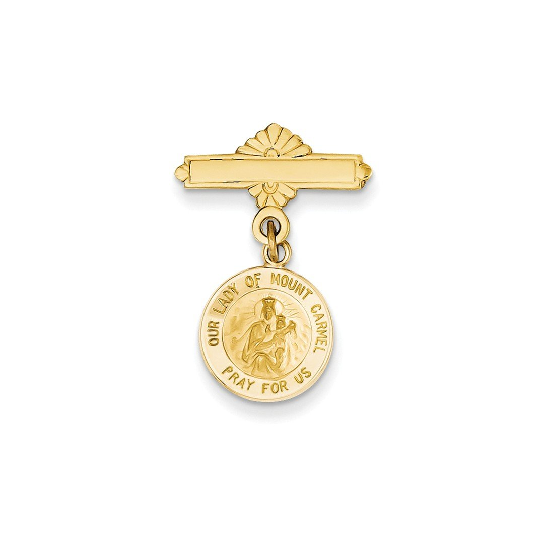 ICE CARATS 14k Yellow Gold Our Lady Of Mount Carmel Medal Pendant Charm Necklace Pin Religious Mt Fine Jewelry Gift Set For Women Heart