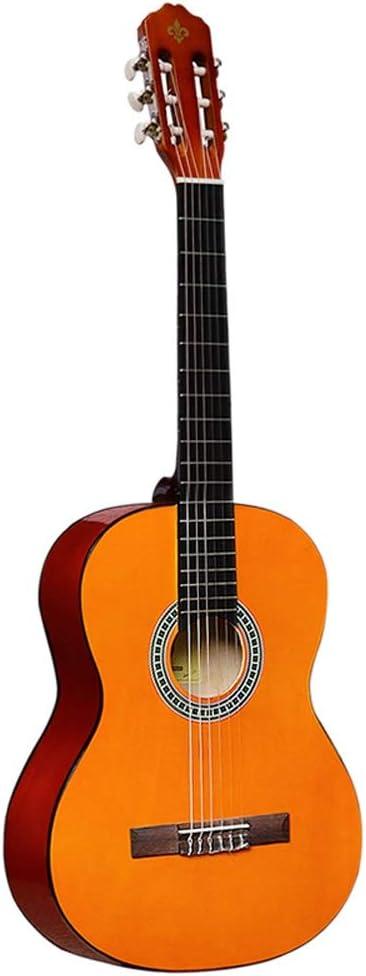 Boll-ATur Amber Childrens Guitarra clásica española-39 pulgadas Diapasón de palisandro Bolsa de guitarra acústica Sintonizador de cuerdas adicionales