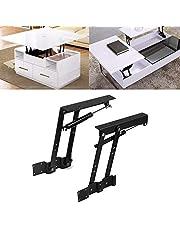 2pcs Lift Up Spring Hinge for Coffee Table, Pneumatic Heavy Duty Top Lifting Frame Hardware DIY Desk Mechanism Bracket