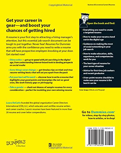 resumes for dummies laura decarlo 9781118982600 amazoncom books - Resume For Dummies