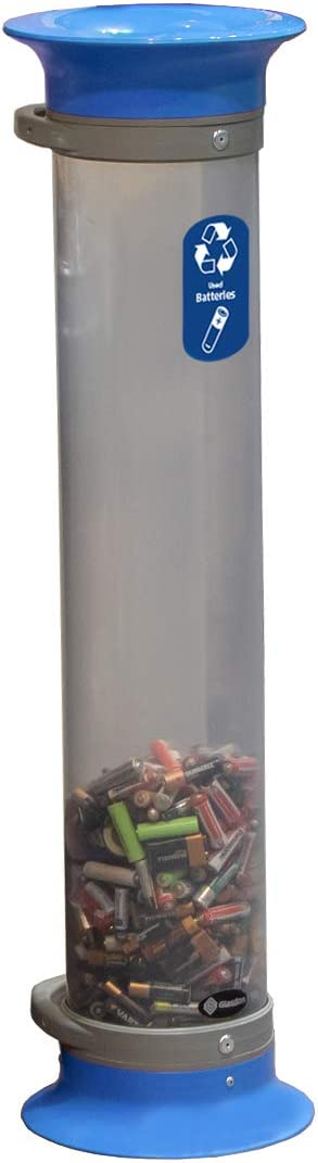 Glasdon C-Thru 5 L Battery Recycling Tube Compact 5 L Transparent Battery Collection Tube Black, No Graphic Small Battery Recycling Container 4 Colours