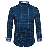 MUSE FATH Long Sleeve Shirt-100% Cotton Plaid Shirt-Easycare Long Sleeve Shirt-Royal Blue-L