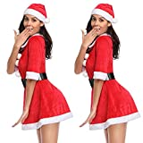 CROSS1946 Mrs. Claus Costume Christmas Dress Party Fancy Baby Santacon Outfits with Dress Belt and Hat One Size - 3 Pieces