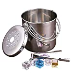 DEBON Ice Bucket Cans Cooler Thicken Stainless Steel Pail Drinks Cooler Soda Cooler Handle Bucket Insulated Beer Chiller Wine Cooler With Tong(1.2L)