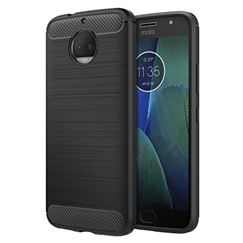 Motorola Moto G5S Plus Case, MoKo Flexible TPU Bumper Slim Fit Case Carbon Fiber Design Lightweight Shockproof Back Cover for Moto G5S+ 5.5inch (2017), BLACK