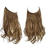 Brown Hair Extensions Curly Synthetic Halo Hairpiece Hidden Wire Headband Long 18Inch 4.2 Oz for Women Heat Resistant Fiber No Clip SARLA(M01&8B)