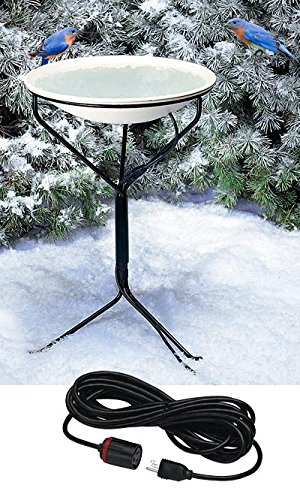 Heated Bird Bath with Metal Stand and 50' Lock N Dry Cord by BestNest