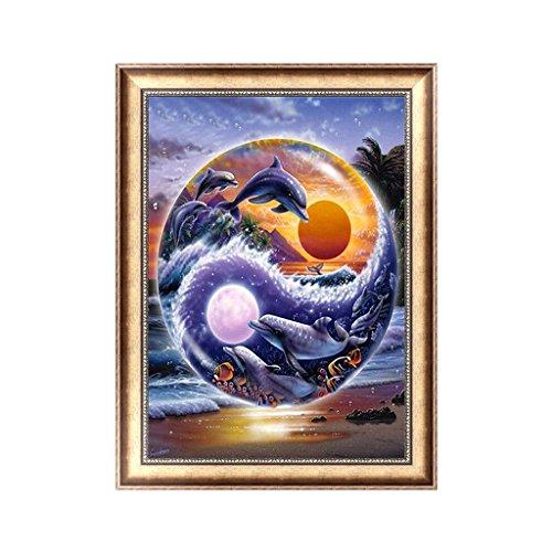 - Kofun 5D DIY Diamond Painting, 5D DIY Painting Paint by Numbers Diamonds Embroidery Painting Cross Stitch Kit DIY Home Decor Dolphin 30x40 cm