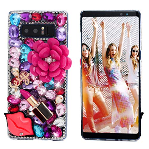 Note 8 Case, Mavis's Diary Clear Slim Fit Luxury 3D Handmade Bling Crystal Rhinestone Diamonds Pink Pearl Floral Lipstick Fashion Design Full Body Protective Hard PC Cover for Samsung Galaxy Note 8 ()