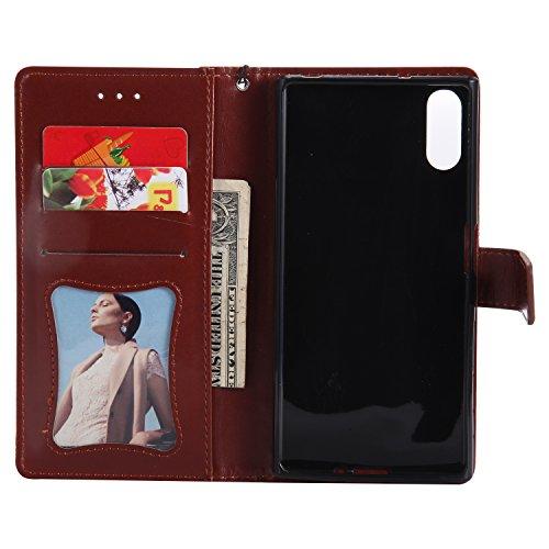 Par Pour Xperia Coque Xz Fermeture Clapet Herbests cartes De Magnétique Housse Etui En g888 Cuir Sony Portefeuille Étui Porte Rabattable Brun Protection Case SqHF6TqRX